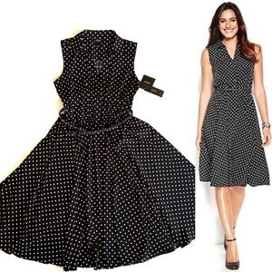 Alfani Spring Ahead Belted Polka Dot Dress! NWT!